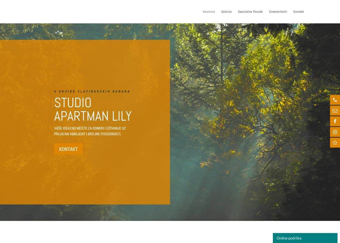Studio Apartment Lily Divi Theme Example