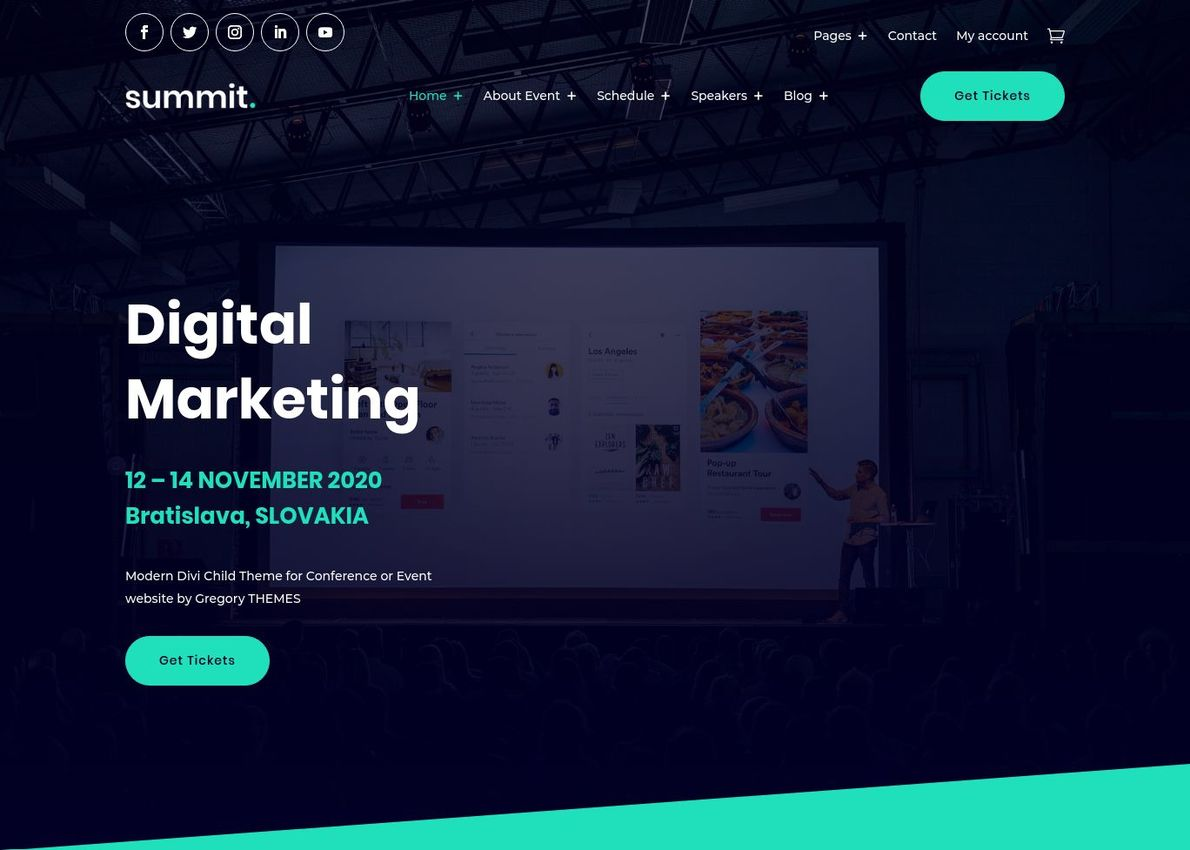 Summit Event WooCommerce Theme Divi Theme Example