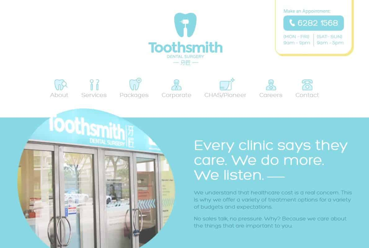 Toothsmith Divi Theme Example