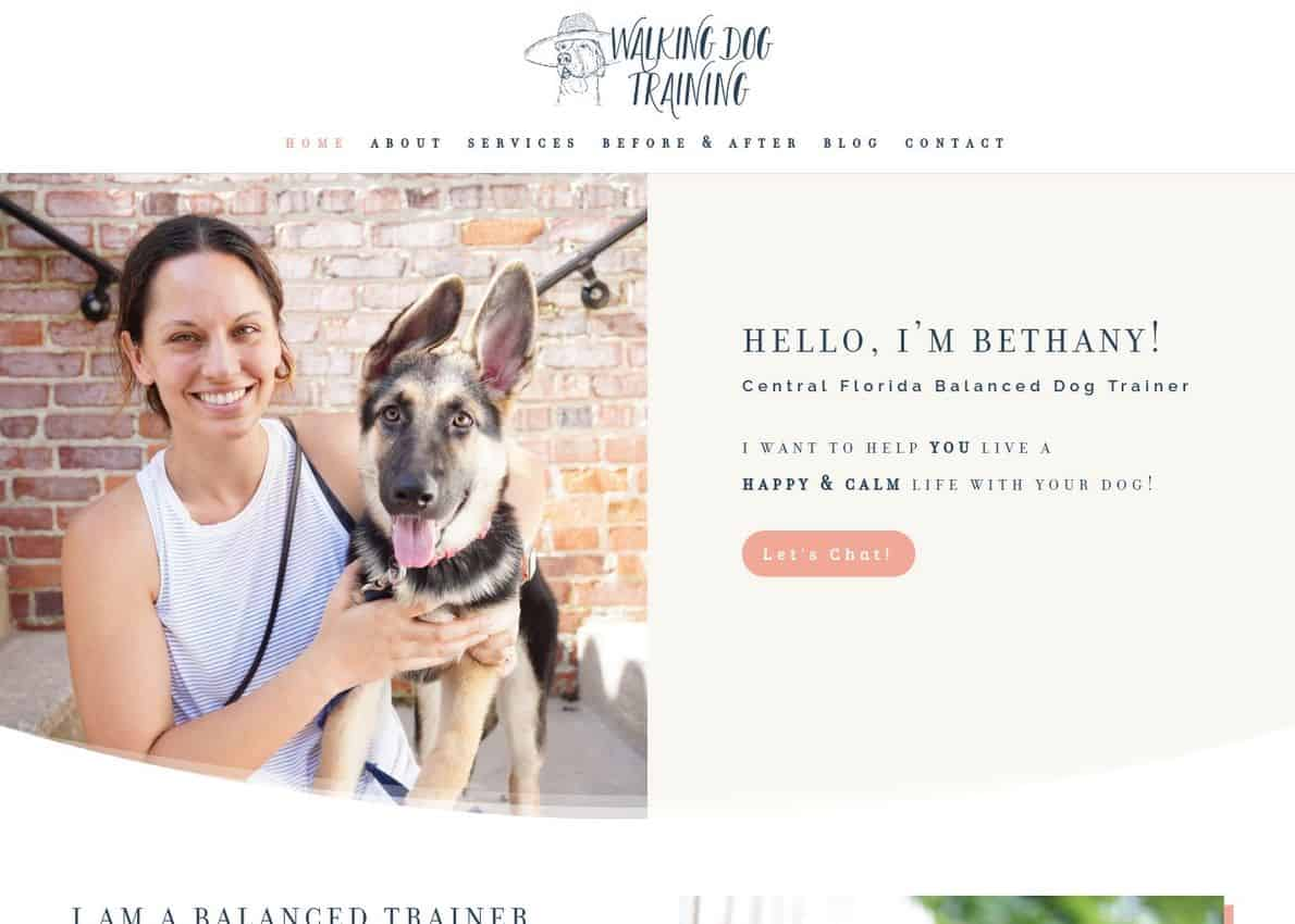Walking Dog Training Divi Theme Example