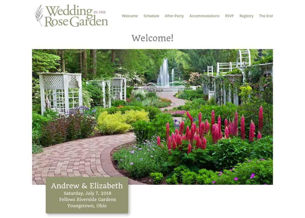 Wedding in the Rose Garden Divi Theme Example