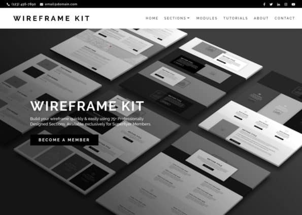 Wireframe Kit on Divi Gallery