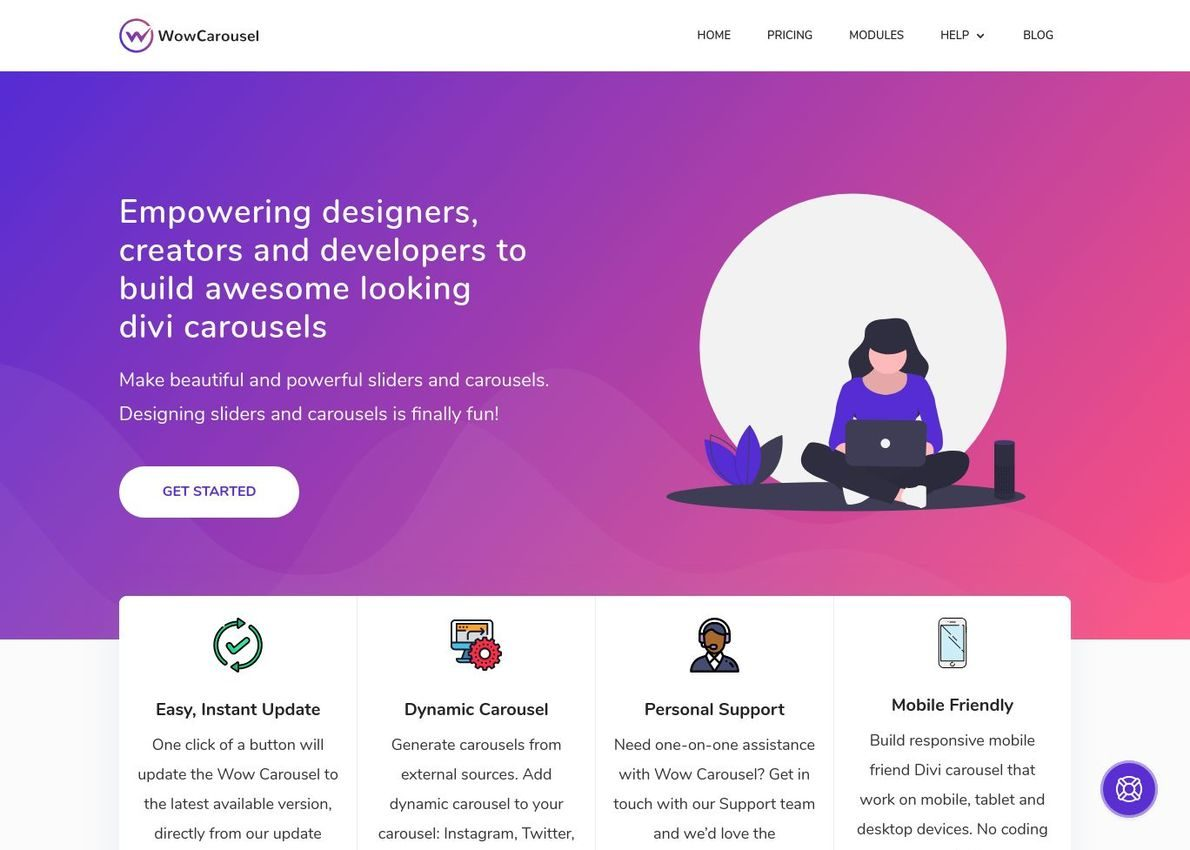 Wow Carousel for Divi Divi Theme Example