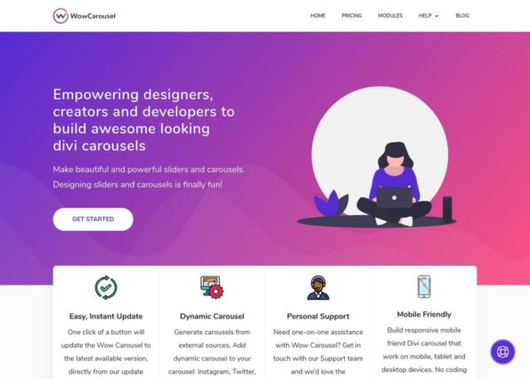 Wow Carousel for Divi on Divi Gallery